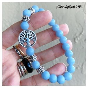 Light blue angelite gems & tree of life bracelet